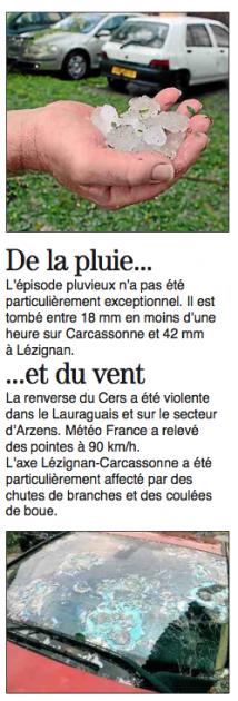 Les ravages de la grêle dans l'Aude - 6 juillet 2014 - cataclysme - Midi Libre
