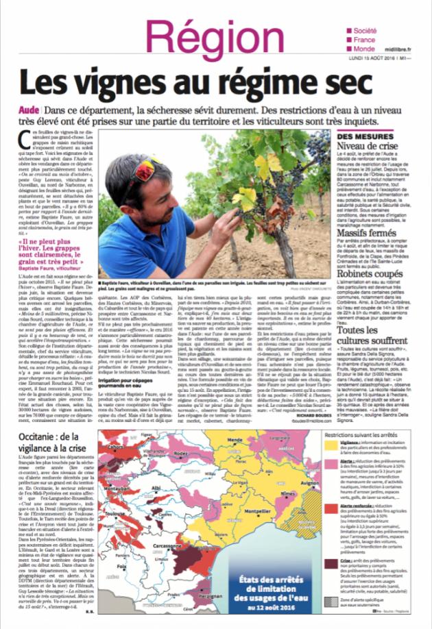 Les vignes au régime sec - Article du Midi Libre du 15 août 2016 - BLOG
