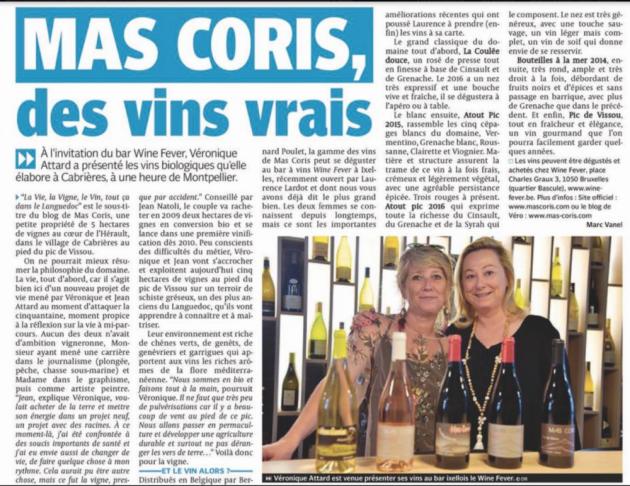 Mas Coris, des vins vrais - par Marc Vanel - Ixelles - Wine Fever - Belgique