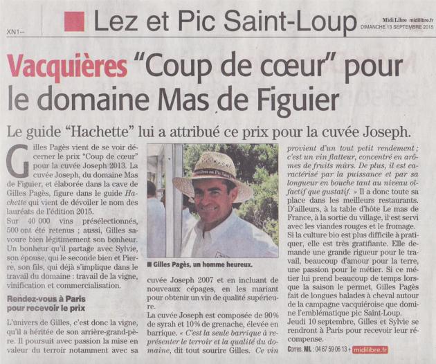 Mas de Figuier - coup de coeur du Guide Hachette pour Joseph 2007 - Midi Libre - 13 sept. 2015