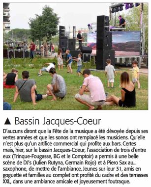 Midi Libre du 22 juin 2017 - Fête de la Musique au Bassin Jacques Coeur © Midi Libre