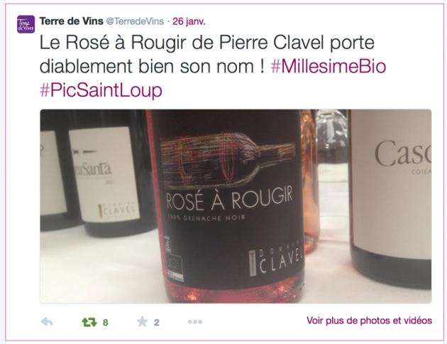 Millésime Bio 2015 - Retour en réseaux sociaux - Terre de Vins sur le Rosé à rougir de Pierre Clavel - Twitter