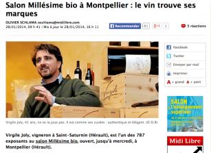 Millésime Bio - Virgile Joly - Midi Libre 28 janvier 2014
