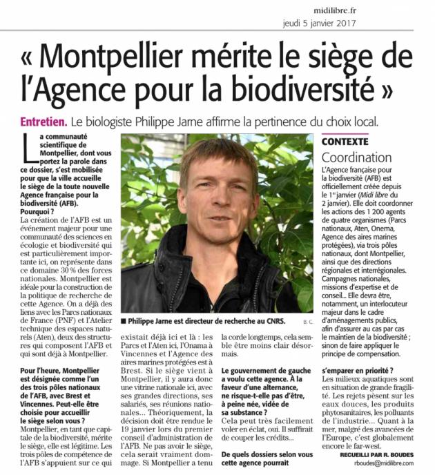 Montpellier mérite le siège de l'Agence pour la Biodiversité - Midi Libre janvier 2017 - Philippe Jarne CNRS