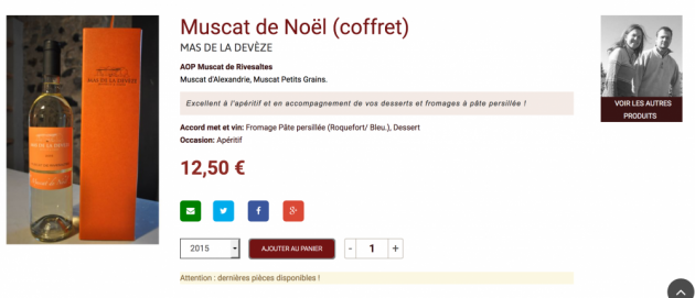 Muscat de Noël en coffret - Mas de la Devèze - boutique en ligne Trinque Fougasse