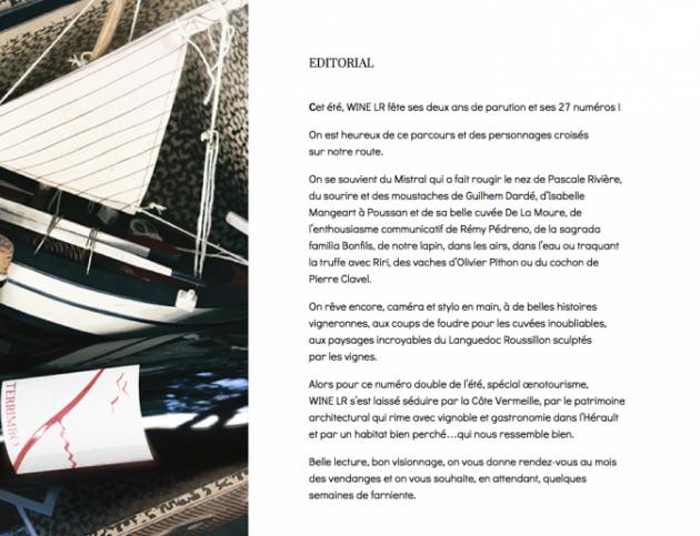 N°27 WINE LR - juillet 2014 - numéro Spécial oenotourisme - édito de Caroline Jauffret-Redon