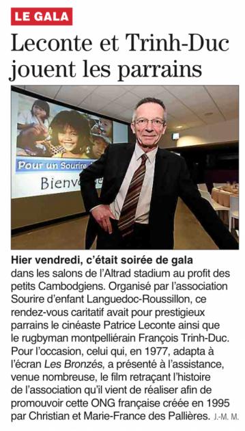 Patrice Leconte ainsi que le rugbyman montpellierain François Trinh-Duc Pour un sourire d'enfant - Midi Libre mars 2015