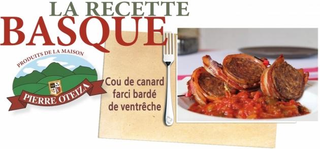 Pierre Oteiza - Recette - cou de canard farci bardé de ventrêche