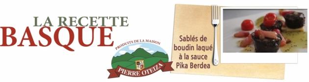 Pierre Oteiza - Recette - Sablés de boudin Basque laqué à la sauce Pika Berdéa