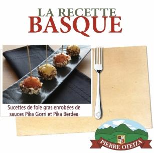 Pierre Oteiza - Recette - Sucettes de foie gras enrobées de sauces Pika Gorri et Pika Berdea