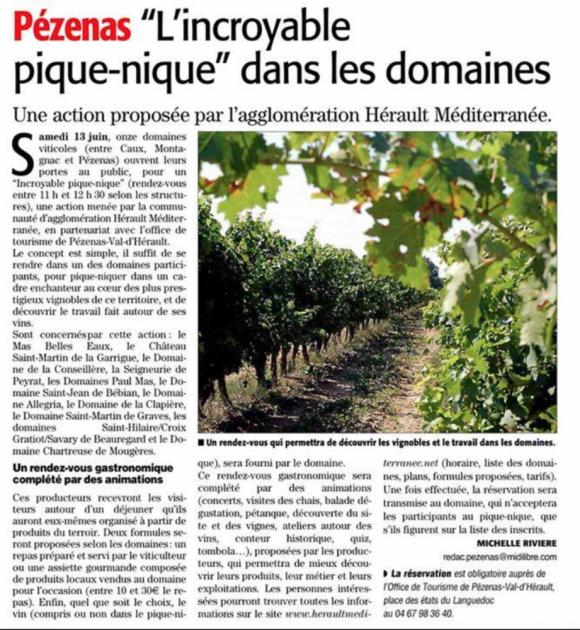Pique Nique à Pézenas le 13 juin 2015 - Midi Libre