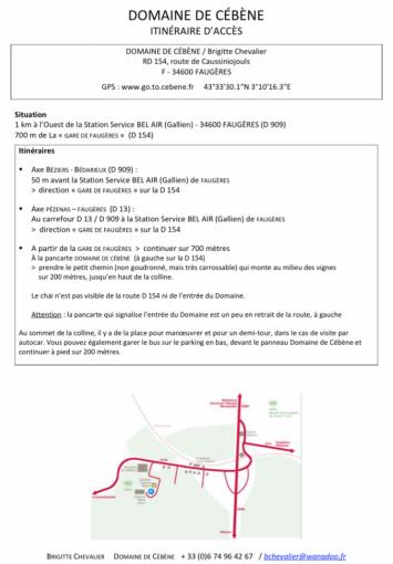 Pique-nique chez le vigneron indépendant - Domaine de Cébène - mai 2015 - Itinéraire