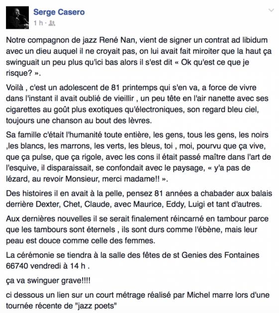 René Nan s'en est allé - Janvier 2015 - Hommage par Serge Casero © Serge Casero