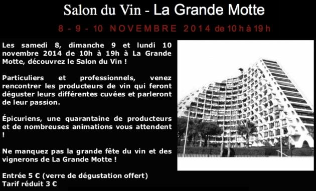 Salon du vin de la Grande-Motte les 8-9-10 NOVEMBRE 2014