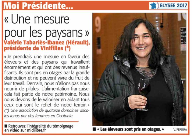 """""""Si j'étais Présidente"""" par Valérie de Roquemale - Midi Libre 13 mars 2017"""