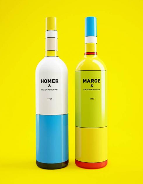 Simpsons wine - Piet Mondrian - Constantin Bolimond - Dmitry Patsukevich