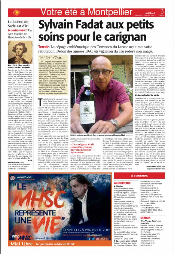 Sylvain Fadat aux petits soins pour le carignan - Midi Libre 23 juillet 2016