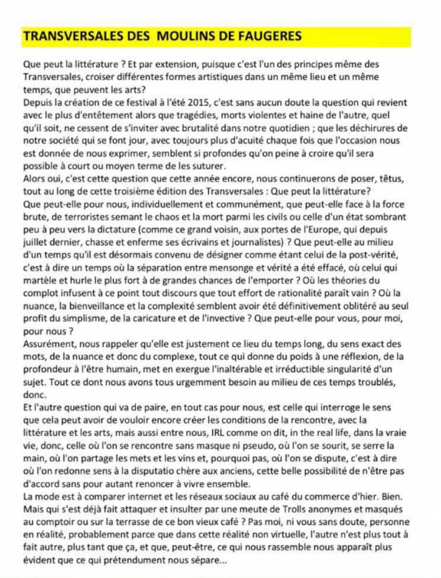 Transversales 2017 au Moulin de Faugères