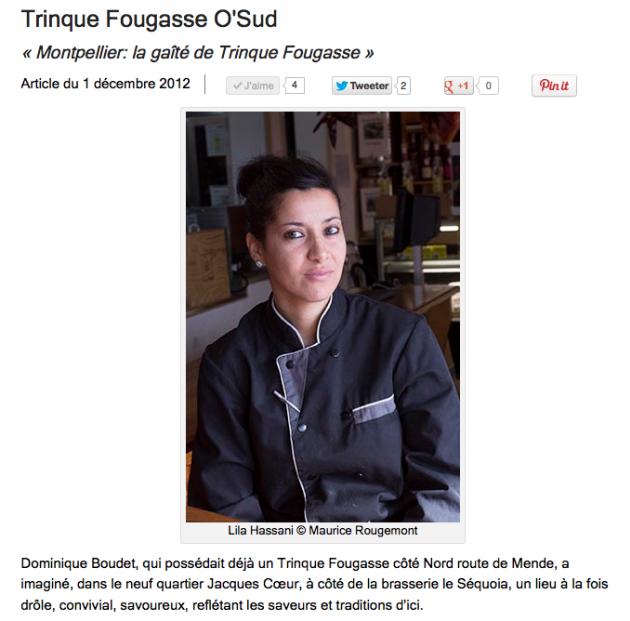 Trinquefougasse O'Sud par Gilles Pudlowski - Lila Hassani - décembre 2012 - Les pieds dans le plat