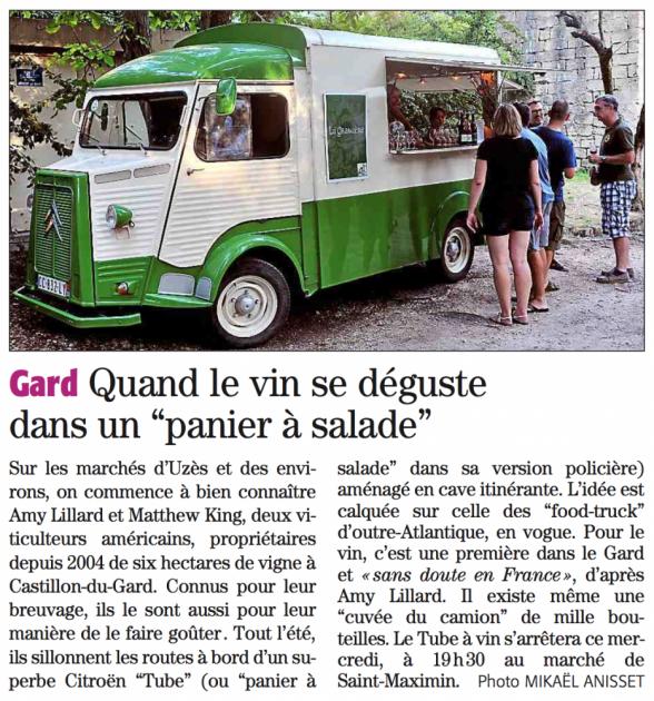 Tube bar à vins itinérant Gard - Midi Libre 18 août 2015