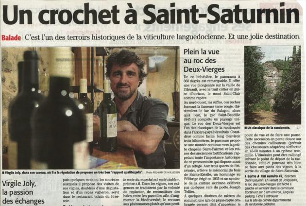 Un crochet à Saint Saturnin - Midi Libre 4 août 2015 - Virgile Joly