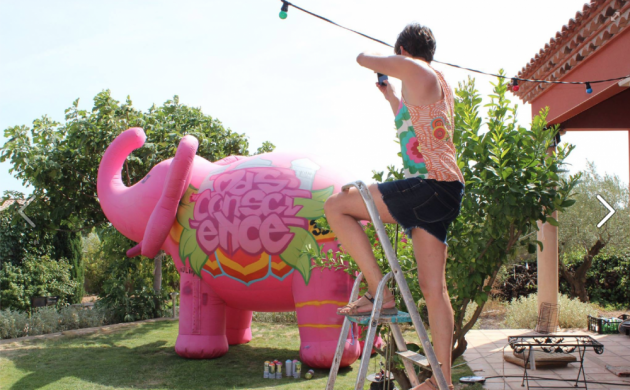 Un éléphant rose au Mas Conscience - juillet 2015 - StreetArt Graffiti