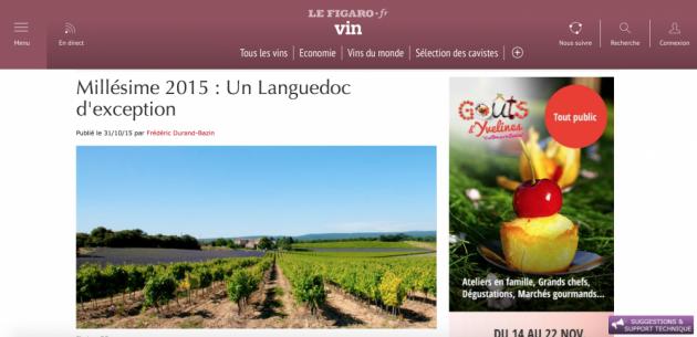 Un millésime 2015 hors normes, par Vincent Goumard dans le Figaro Vin - octobre 2015 - BLOG TRINQUE FOUGASSE