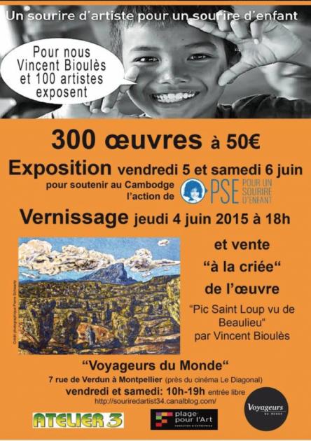 Un sourire d'artiste pour Un Sourire d'Enfant - expo juin 2015 Montpellier