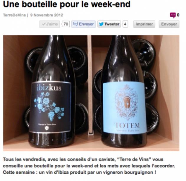 Une bouteille pour le week end - Terre de Vins - nov. 2012 - Ibizkus par Alejandro Coloma