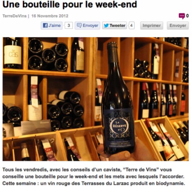 Une bouteille pour le week end - Terre de Vins - nov. 2012 - La Réserve d'O par Philippe Serra