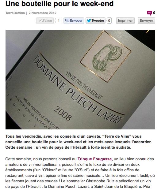 Une bouteille pour le week end - Terre de Vins - nov. 2012 - Puech Lazert par C. RUIZ