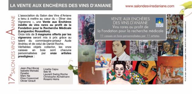 Vente aux Enchères du Salon des Vins d'Aniane - 25 juillet 2015 - Art - Vin - Caritatif
