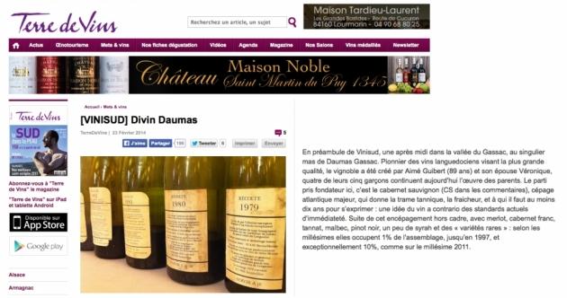 Verticale Daumas Gassac - OFF VINISUD 2014 - Terre de Vins - Sylvie Tonnaire