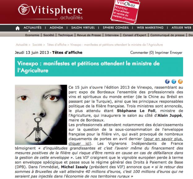 Vitisphère - Vinexpo : manifestes et pétitions attendent le ministre de l'Agriculture - Stéphane Le Foll - Touche pas à mon vigneron © (c)Vitisphère