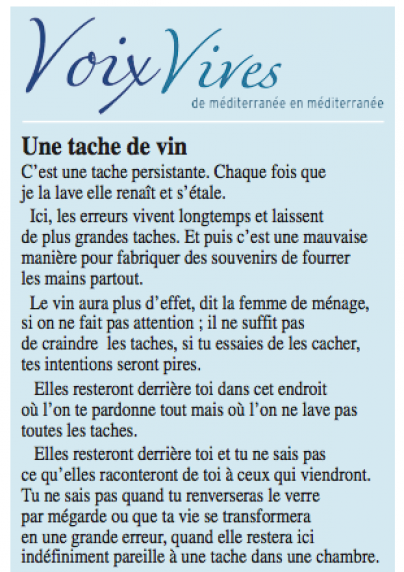 Voix Vives en Méditerranée - Poésie - Midi Libre - juillet 2013 - Blog - Vin