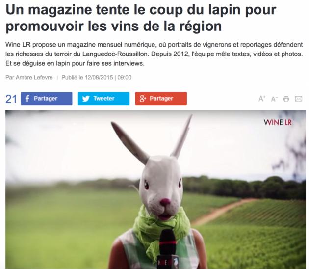 WINE LR - le coup du lapin - France 3 - août 2015